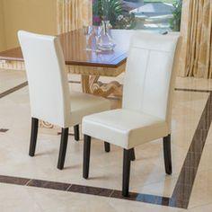 Emilia Ivory Leather Dining Chairs (Set of 2)