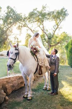 """""""It was also a really special way for me to honor my mother, Cindy, who is no longer with us – she was an avid horse lover and breeder of Arabian horses,"""" explains Jessica of her decision to arrive at the ceremony riding a horse. #WeddingEntrance Photography: Amanda McKinnon Photography. Read More:  http://www.insideweddings.com/weddings/bride-wears-claire-pettibone-gown-to-bohemian-outdoor-wedding/668/"""