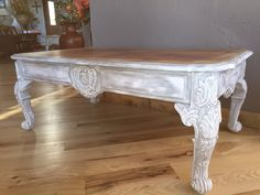 Ornate+Carved+Wood+Coffee+Table.Hand+by+RustiqueReInVintage