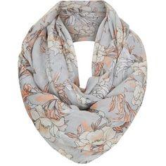 Grey Floral Print Snood