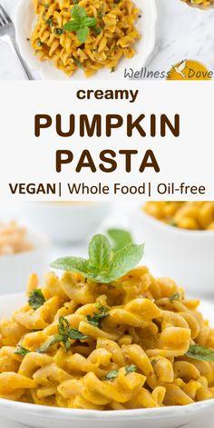 Nutritious and Creamy Vegan Pumpkin Pasta Pumpkin Sauce, Pumpkin Pasta, Vegan Pumpkin, Pumpkin Recipes, Easy Healthy Recipes, Raw Food Recipes, Pasta Recipes, Healthy Fats, Vegan Food