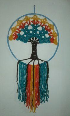Crochet Wall Art, Crochet Tree, Crochet Wall Hangings, Cute Crochet, Beautiful Crochet, Crochet Doilies, Knit Crochet, Crochet Mandala Pattern, Macrame Patterns