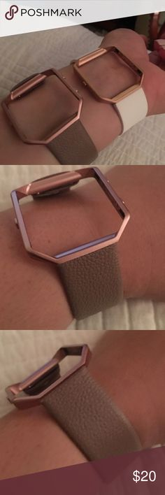 FITBIT BLAZE watch band Pebble grey leather This FITBIT band has antique gold casing and pebble leather in a beautiful grey tone. Brand new. Size L Accessories