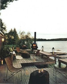 Decks/patios on a lake.