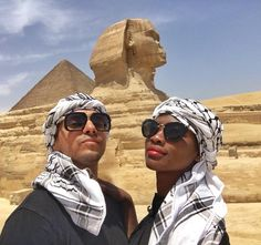 Gorgeous interracial couple visiting the Great Sphinx of Giza in Cairo, Egypt #love #wmbw #bwwm #swirl #lovingday