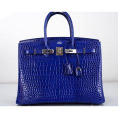 Hermès Blue Electrique Porosus Crocodile 35cm Birkin Bag