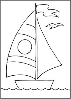 a Cute sailboat Applique Templates, Applique Patterns, Applique Designs, Embroidery Applique, Quilt Patterns, Art Drawings For Kids, Drawing For Kids, Easy Drawings, Animal Coloring Pages