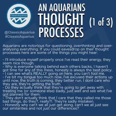 What goes on in an Aquarians mind? A look into an Aquarians thought processes. #ClassicAquarius #Aquarius #Aquarians