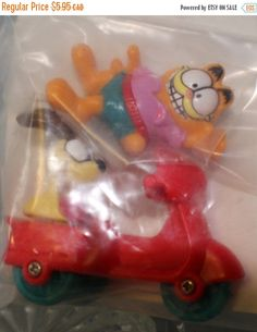 ON SALE McDonalds Happy Meal Toy GARFIELD Motor Bike with Odie 1989 New in Package by ChimoTreasures on Etsy