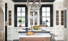 Dark Trim: Christopher Peacock Kitchen - note glossy black trim around windows and metal counter stools