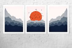 Items similar to Abstract Landscape Print Set - Panorama Print - Blue Orange Art - Scandinavian Wall Art - Scandinavian Print - Mid Century Modern on Etsy Small Canvas Art, Easy Canvas Painting, Canvas Wall Art, Wall Art Prints, Knife Painting, Landscape Prints, Abstract Landscape, Abstract Art, Orange Art