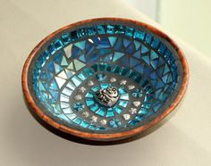 Mosaic Jewelry Keys Dish / Bowl  in Summer Sky by MOSAICSnMORE, $29.95
