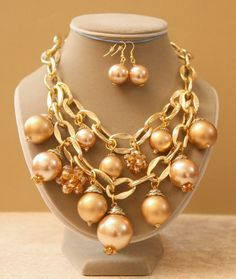Big Bold Tan Pearl and Crystal Necklace with Large by Ohlicious