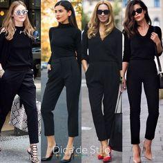 O look total black é super conhecido por ser básico, simples e fácil de criar. O look total black é super conhecido por ser básico, simples e fácil de criar. Por estas características poderíamos até dizer que ele é sem…. Casual Work Outfits, Business Casual Outfits, Professional Outfits, Office Outfits, Work Attire, Classy Outfits, Chic Outfits, Fashion Outfits, Womens Fashion