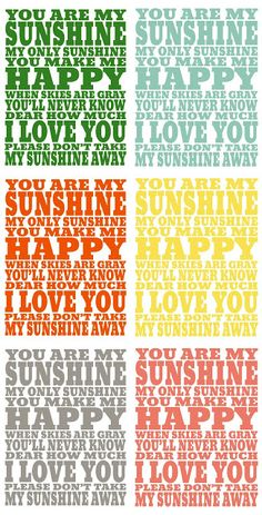 Free You are My Sunshine frameable printable