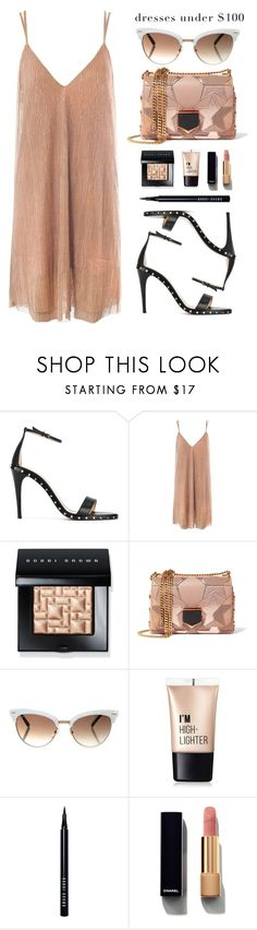"""Dresses under $100"" by baimatovaaa ❤ liked on Polyvore featuring Valentino, Sans Souci, Bobbi Brown Cosmetics, Jimmy Choo, Gucci, Charlotte Russe and Chanel"