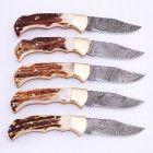 Stag Antler Grip Damascus Folding Pocket Knives lot of 5 Folding Pocket Knife, Pocket Knives, Damascus Knife, Damascus Steel, Stag Antlers, Knifes, Kitchen Knives, Knives, Knife Making