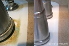 Soak paper towels in vinegar and wrap around faucets. wait an hour and wipe off. Cleaning power of Vinegar!