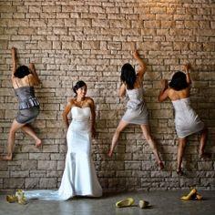 Rock climbing bridesmaids at the Westin in the Caribean wedding gawker.com