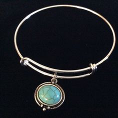 Turquoise and Silver Expandable Charm Bracelet Adjustable Wire Bangle Gift Beach Boho Jewelry