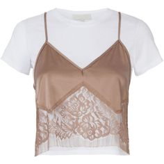 Michelle Mason Blush Lace Camisole Layered T-Shirt (3.125 NOK) ❤ liked on Polyvore featuring tops, t-shirts, brown camisole, lace camisole top, layering tees, lace tee and lace camis