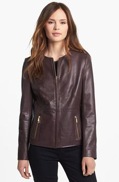 Tahari Collarless Leather Jacket available at #Nordstrom This Port Wine Jacket looks great for fall!