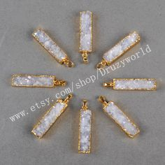 5&10Pcs Gold Plated Rectangle Natural Agate Titanium AB Druzy Pendant Bead Natural Titanium Druzy Pendant Brilliant Gemstone Jewelry G0500 by Druzyworld on Etsy