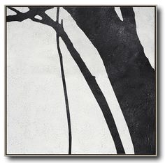 Hand painted black and white painting MN193A, abstract tree, minimalist painting for modern interiors and neutral home. Celine Ziang Art (CZArtDesign.com)