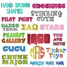 Massive Applique Font grouping. Includes Round Monogram Applique Font and Greek letters Applique Font in multiple sizes.