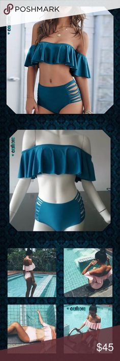 JUST INTeal Blue Ruffle Off Shoulder Retro 2pc New 4 Color Choices 2pc Off Shoulder High Waist Bikini Brand New, high quality! Material: Polyester Blend Color: Pink, Coffee, Blue, Black Style: Sexy Off-shoulder Ruffle Sleeve SetSize: TAG XL SEE SIZE CHART BEFORE BUYING  PRICE FIRM UNLESS BUNDLED ⭐️⭐️SORRY NO TRADES AND LOWBALL OFFERS WILL BE IGNORED ⭐️⭐️ ✂️LOWBALL OFFERS WILL BE IGNORED✂️ Glam Squad 2 You Swim Bikinis
