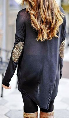 Sparkle elbow patches black blouse fashion