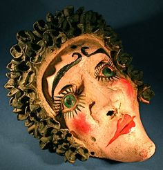 Antique Hand Painted & Carved Mexican Woman Seed Tribal Mask