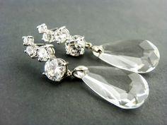 Wedding Earrings Clear Bridal Earrings Cubic by EstyloJewelry