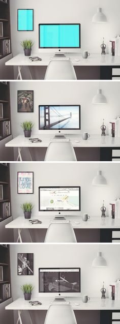 Creat a hero workspace scene for your next project with this iMac Retina Office Free PSD MockUp template. You will add your designs on the screen and the frame, plus it allows you to create the perfect scene by editing the plant and the lamp easily wit Web Design, Tool Design, House Design, Office Free, Home Office Design, Office Decor, Grafik Design, Identity Branding, Corporate Identity