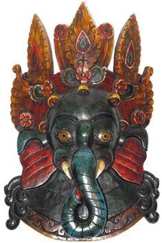SOLD Hindu God Ganesh Wood Mask 20