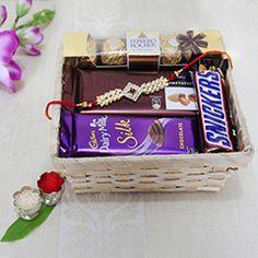 Buy Attractive Silver rakhi with chocolate on affordable price at rakhibazaar.com  #buysilverrakhi  #senddesignerrakhi  #onlinemaulirakhi  #sendonlinekidsrakhi