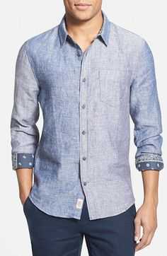 1901 'Keyport' Trim Fit Linen Woven Shirt available at Denim Button Up, Button Up Shirts, Man Weave, Tailored Shirts, Mens Fashion, Fashion Trends, Nordstrom, Menswear, Shirt Dress