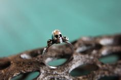 Sterling silver skull stacking ring with by MissNovemberStudio, $50.00 - Oh hi <3 @{Ray} we should get one each u_u