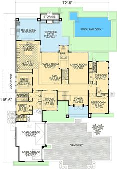 Contemporary Florida Style Home Plan - 32051AA | Architectural Designs - House Plans