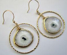 Solar Quartz Gold Hoop Earrings - SOLD