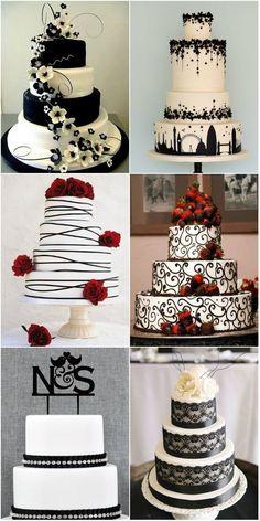 simply elegant black and white wedding cakes