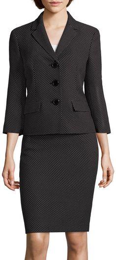 LE SUIT Le Suit Pin Dot Notch Lapel Skirt Suit