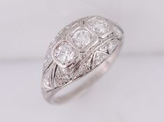 Antique Engagement Ring Art Deco .75ct Old European Cut Diamonds in Platinum. Minneapolis, MN.