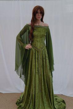 Elven dress Celtic wedding dress medieval dress by camelotcostumes: