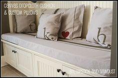 Lipstick and Sawdust: Canvas Drop Cloth Cushion & Custom Pillows