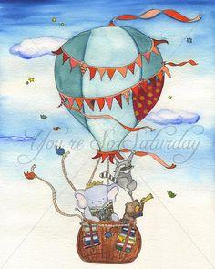 Big Adventure Hot Air Balloon Watercolor by YoureSoSaturday, $18.00