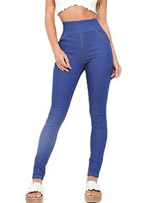 Pantalones Pitillo Elásticos De Cintura Alta De Elásticos Ropa Pantalones  La Cintura con Espalda Color Sólido fb6bdf391b2