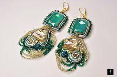 Chandelier Soutache Statement Earrings with Emerald & by BYTWINS