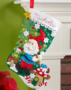 18-Inch Bucilla Felt Applique Stocking Kit 86707 Santa Stop Here