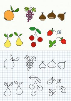 Cornicette per bambini a quadretti autunno Symmetry Worksheets, Tiny Cross Stitch, Graph Paper Art, Shape Books, Blackwork Embroidery, Fall Preschool, Bullet Journal Art, Tangle Patterns, Drawing For Kids